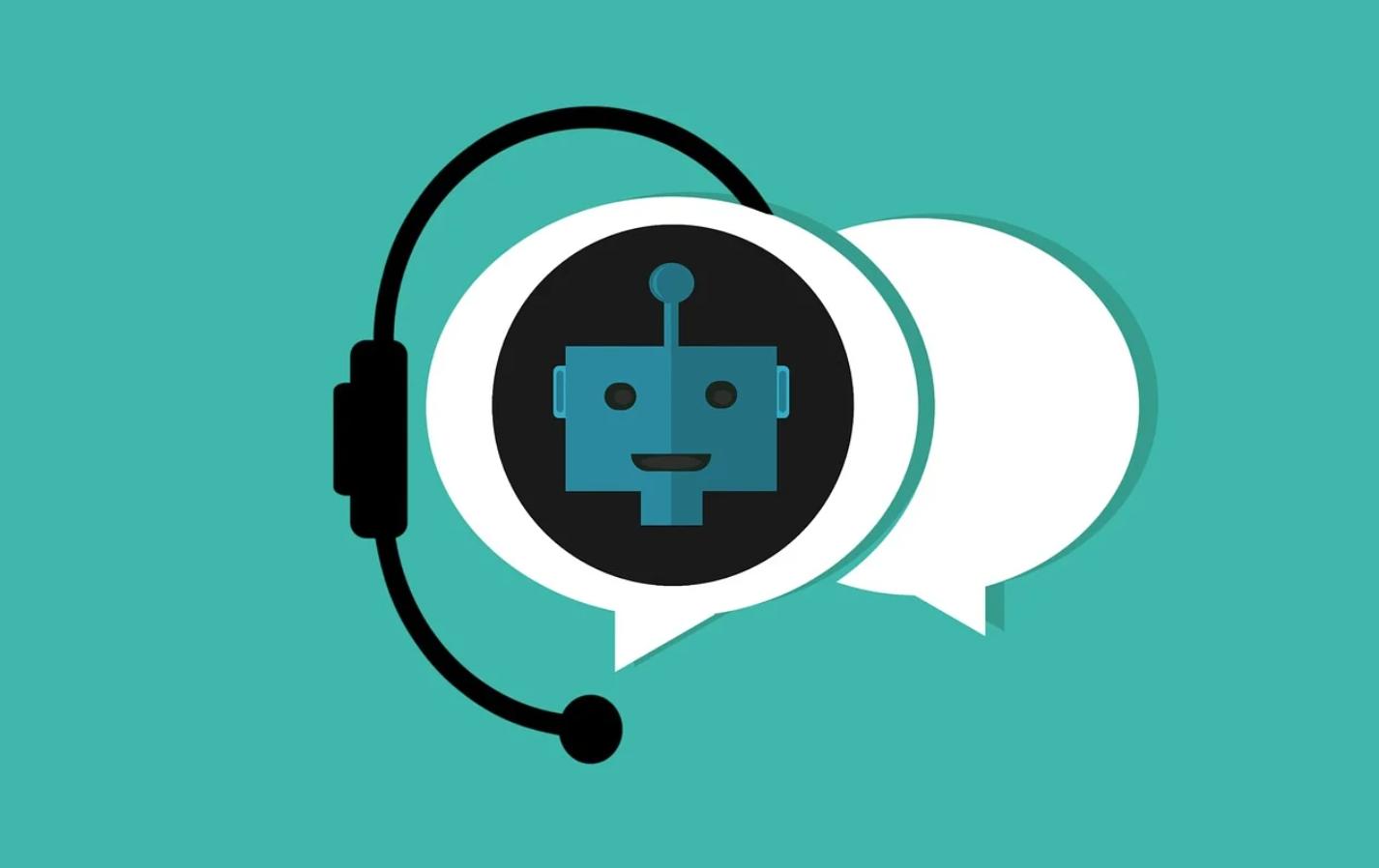 un robot dans une bulle de parole portant un casque sans fil