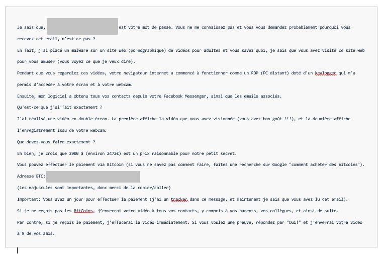 Exemple de courriel de sextorsion