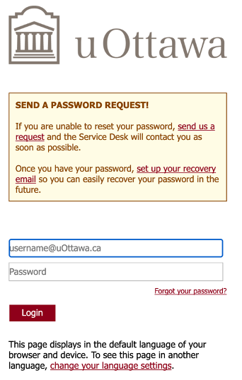 uOttawa authentication screen, includes fields for username and password and a login button