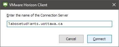 Capture d'écran de la fenêtre avec le contenu Enter the name of the connection server, les boutons connect and cancel