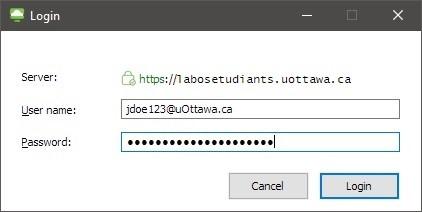 Capture d'écran de la fenêtre avec les détails du serveur, user name and password boxes. Les boutons Login et Cancel.