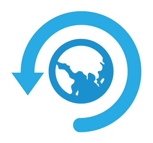 world backup day logo: vector image of blue globe with a blue circular arrow around