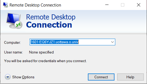 Remote Desktop Connection window showing computer icon and Computer drop down field, user name text and a connect button and Help button