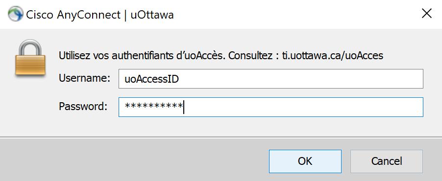 Connexion au RPV, étape 4, Cliquez sur OK